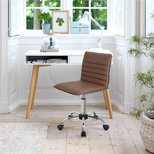 Furniwell Modern Adjustable Low Back Armless Ribbed Task Chair Office Chair Desk Chair, Vanity Chair Swivel Rolling Leather Computer Chairs Conference Chair