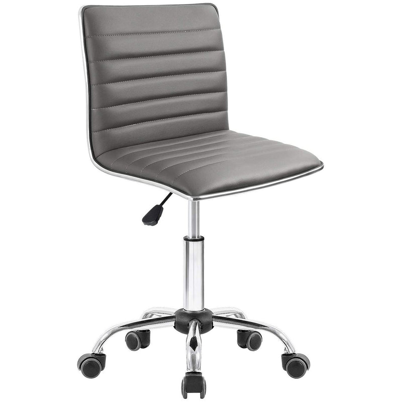 Furniwell Office Chair Armless Ribbed Task Chair Low Back Home Desk Chair Swivel Rolling Leather Computer Chairs