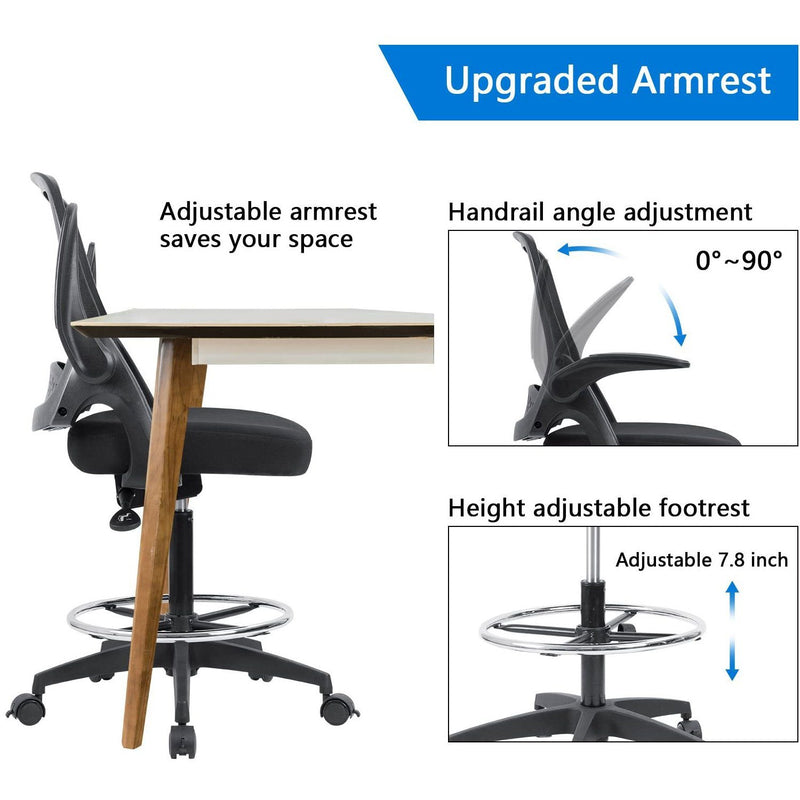 Furniwell Drafting Chair Office Chair Executive Computer Standing Desk Chair with Flip-up Armrests, Lockable Wheels and Adjustable Footrest Ring