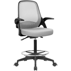 Furniwell Drafting Chair Office Chair with Flip-up Armrests Executive Computer Standing Desk Chair with Lockable Wheels and Adjustable Footrest Ring