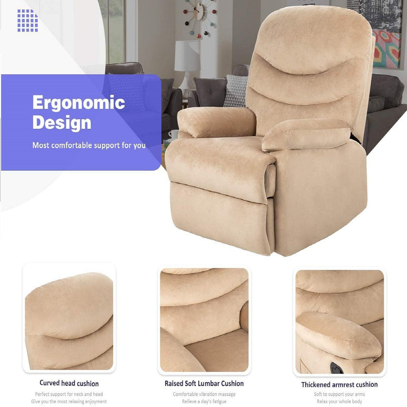 Furniwell Massage Recliner Chair Super Soft Padded Short Fluff Adjustable Theater Seating Single Recliner Classic Lounge Living Room Sofa Chair