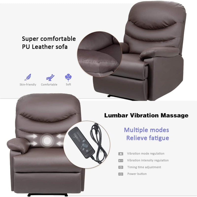 Furniwell PU Leather Recliner Chair Sofa Adjustable Home Theater Seating Single Recliner Sofa Classic Lounge Chair Living Room Recliners, Brown