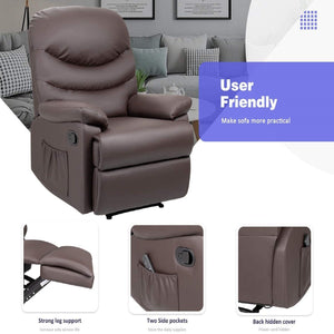Furniwell PU Leather Recliner Chair Sofa Adjustable Home Theater Seating Single Recliner Sofa Classic Lounge Chair Living Room Recliners