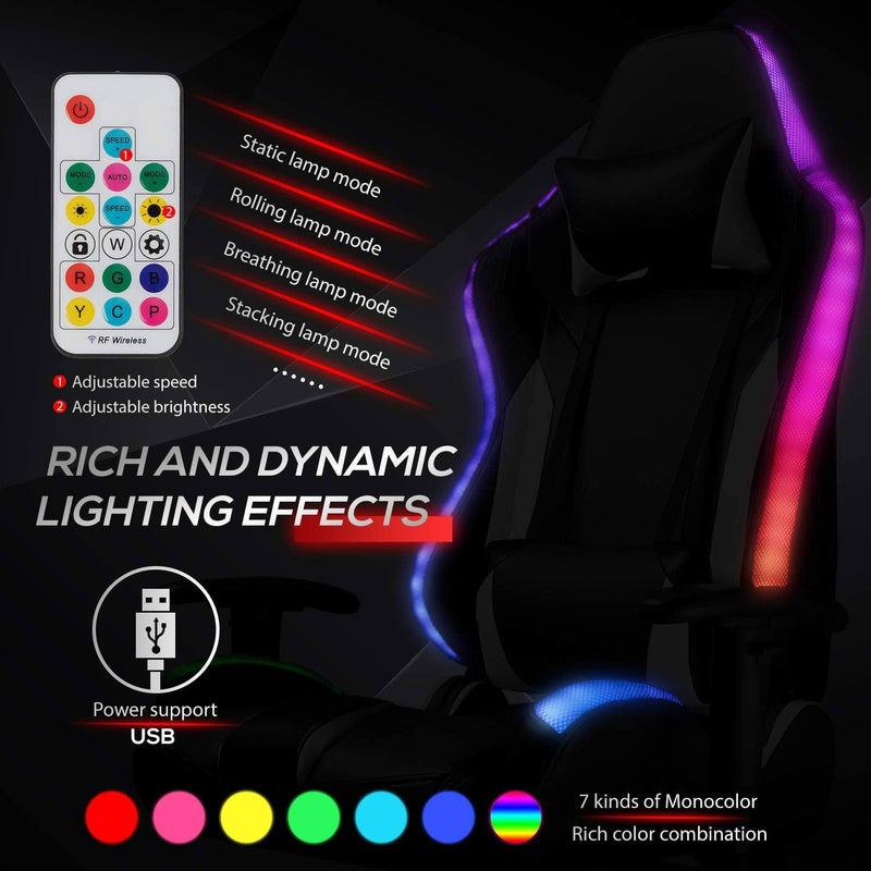 Furniwell Gaming Chair RGB Lighting High Back Computer Chair PU Leather Desk Chair PC Racing LED Ergonomic Adjustable Swivel Task Chair