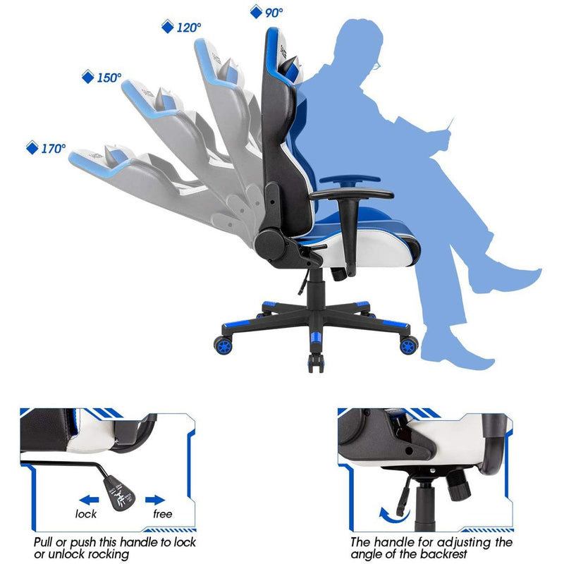 Furniwell Gaming Chair Sracer Chair Ergonomic Computer High Back Office Chair PU Leather Racing Chair PC Adjustable Swivel Task Chair