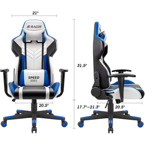 Furniwell Gaming Chair Ergonomic Computer High Back Office Chair PU Leather Racing Chair PC Adjustable Swivel Task Chair
