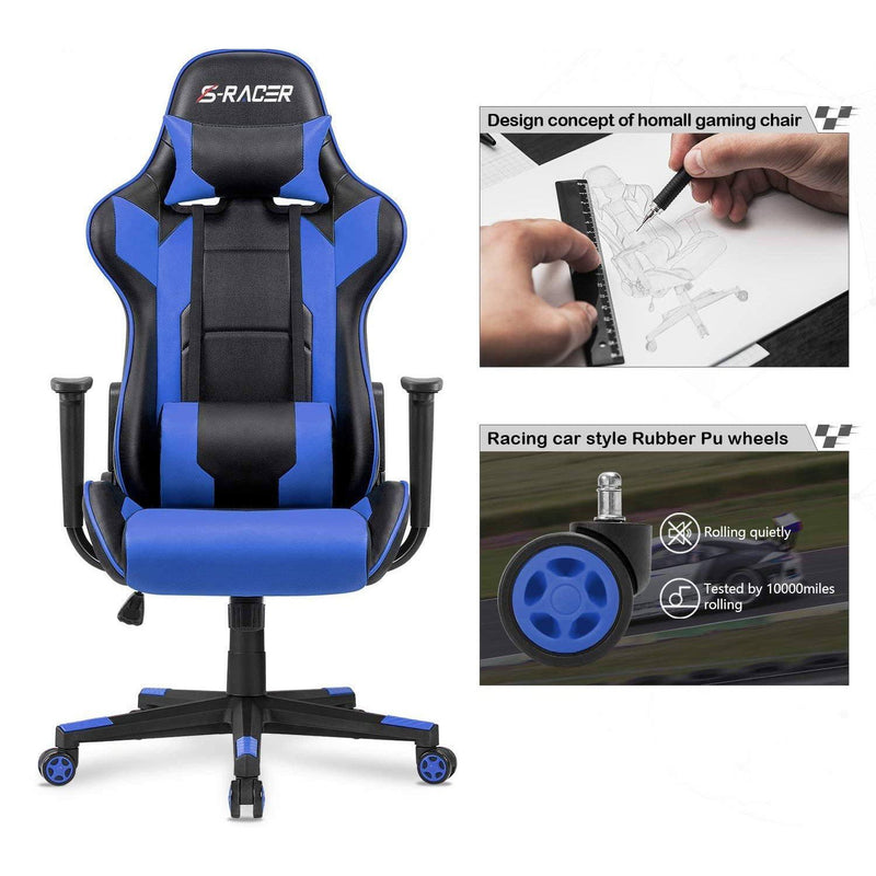 Furniwell Gaming Chair Sracer Racing Chair Rocking Computer Desk Chair PU Leather Executive Ergonomic Swivel Chair with Headrest and Lumbar Support
