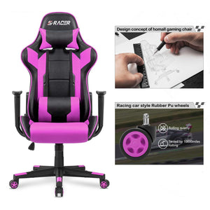 Homall Gaming Chair Racing Office Chair Computer Desk Chair PU Leather Executive and Ergonomic Swivel Chair with Headrest and Lumbar Support