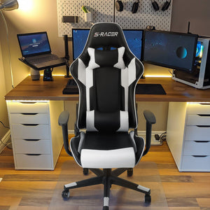 Furniwell Gaming Chair Sracer Racing Office Chair Computer Chair PU Leather Executive Ergonomic Swivel Chair with Headrest and Lumbar Support