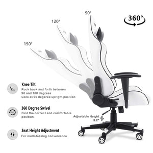 Furniwell Gaming Chair Office Chair High Back Racing Computer Desk Chair PU Leather Chair Executive and Ergonomic Swivel Chair