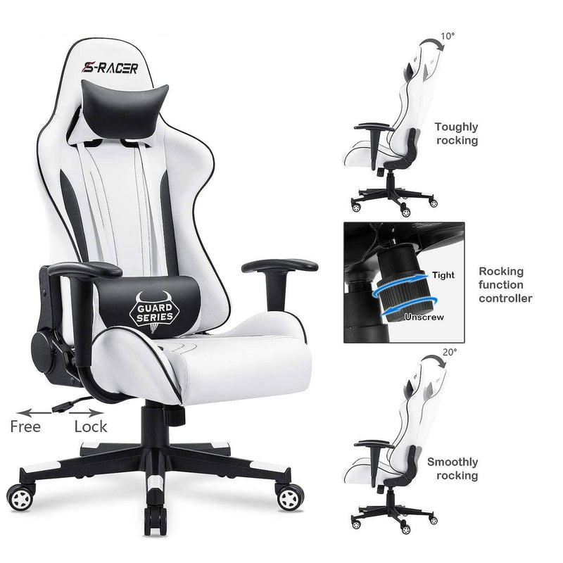 Furniwell Gaming Chair Sracer Rocking Chair High Back Racing Office Chair Computer Desk Chair PU Leather Executive and Ergonomic Swivel Chair, White