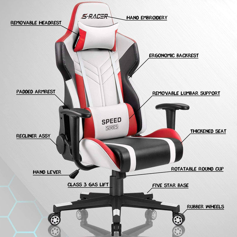 Furniwell Gaming Chair Sracer Chair Ergonomic High Back Computer Office Chair PU Leather Racing Chair PC Adjustable Swivel Task Chair