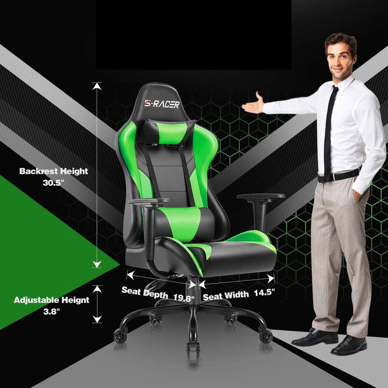 Furniwell Gaming Chair High Back Racing Chair Computer Desk Chair Video Game Chair PU Leather Height Adjustable Swivel Chair Ergonomic Executive Chair