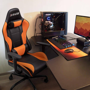 Furniwell Gaming Office Chair Sracer Computer Chair High Back Racing Desk Chair PU Leather Height Adjustable Swivel Chair Ergonomic Executive Chair
