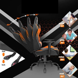 Furniwell Gaming Office Chair Computer Chair High Back Racing Desk Chair PU Leather Adjustable Seat Height Swivel Chair Ergonomic Executive Chair