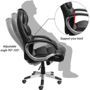 Furniwell High Back Office Chair, Executive Desk Chair with Padded Armrests, Swivel Task Chair with Lumbar Support