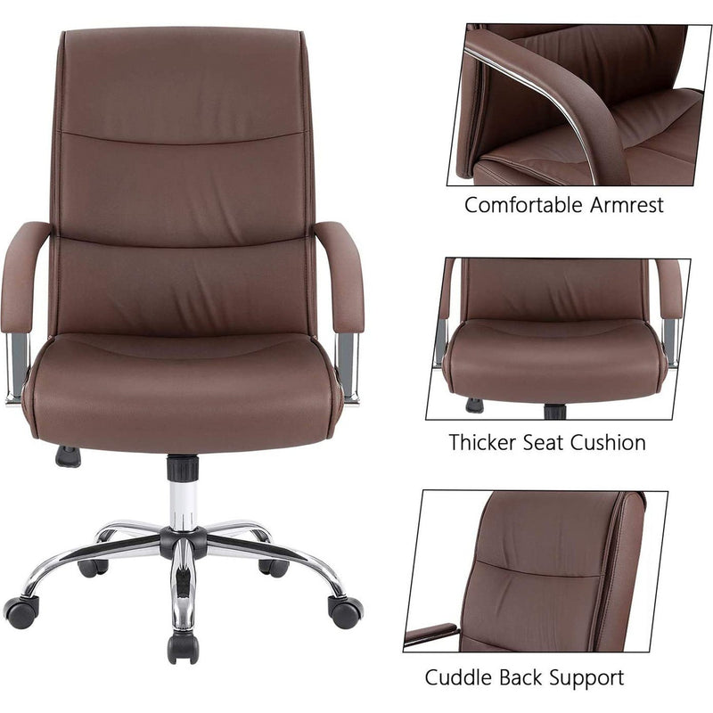 Furniwell High Back Office Chair Conference Leather Executive Chair, Adjustable Ergonomic Swivel Task Chair with Lumbar Support & Padded Armrest