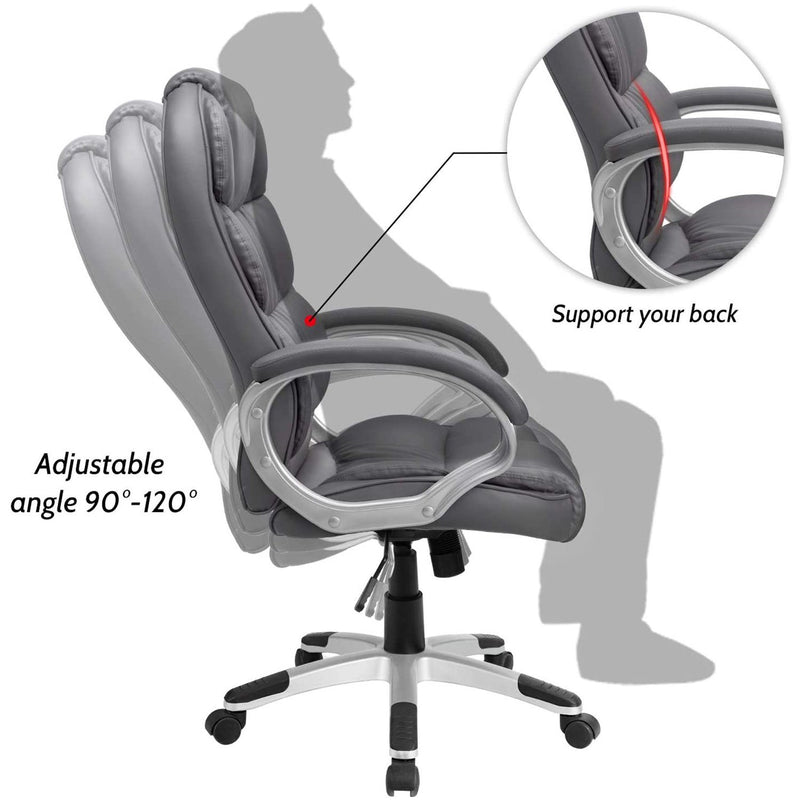 Furniwell High Back Office Chair, Executive Leather Desk Chair with Padded Armrests Swivel Task Chair with Lumbar Support