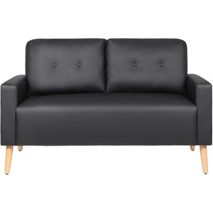 Furniwell Mid Century Modern Loveseat Couch PU Leather Sofa with Solid Wood Frame for Living Room (Black)