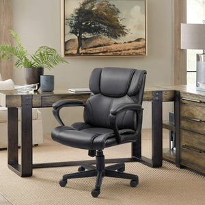 Furniwell Mid Back Executive Office Chair Swivel Computer Task Chair with Armrests,Ergonomic Leather-Padded Desk Chair with Lumbar Support