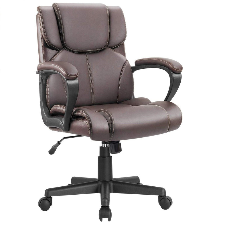 Furniwell Mid Back Office Chair Swivel Computer Task Chair with Armrest Ergonomic Leather Padded Executive Desk Chair with Lumbar Support