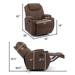 Furniwell Fabric Swivel Rocker Recliner with Massage and Heat