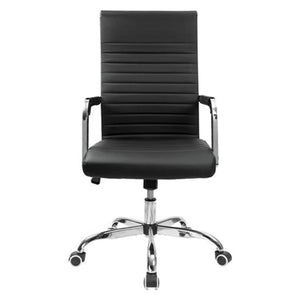 Furniwell Ribbed Office Desk Chair Mid-Back Leather Executive Conference Task Chair Adjustable Swivel Chair with Arms