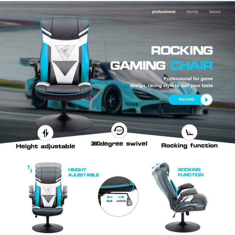 Furniwell Rocking Gaming Chair Racing Computer Game Chairs Office Adjustable Swivel High Back PC Gamer Chair Armrest Support for Adult