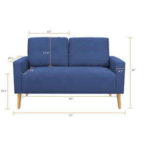Furniwell Mid Century Modern Loveseat Couch Fabric Sofa with Solid Wood Frame for Living Room