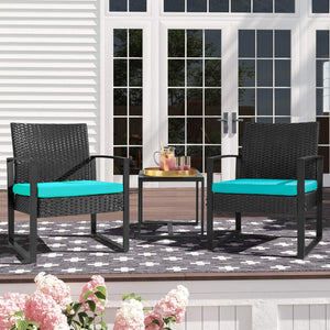Furniwell 3 Pieces Patio Set Outdoor Wicker Patio Furniture Sets Bistro Set Rattan Chair Conversation Sets with Coffee Table