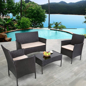 Furniwell 4 Pieces Outdoor Patio Furniture Sets Rattan Chair Wicker Set,Outdoor Indoor Use Backyard Porch Garden Poolside Balcony Furniture (Black)