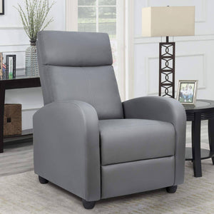 Furniwell Massage Recliner Single Chair Padded Seat Black PU Leather Living Room Sofa Modern Home Theater Seating
