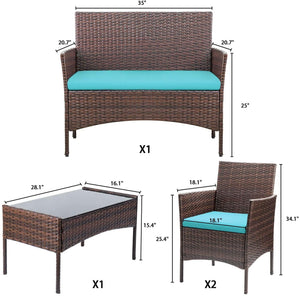 Furniwell 4 Pieces Outdoor Patio Furniture Sets Rattan Wicker Set, Outdoor Indoor Use (4 Pieces)