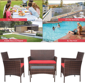 Furniwell Patio Furniture Sets Outdoor 4 Pieces Indoor Use Conversation Sets Rattan Wicker Chair with Table Backyard Lawn Porch Garden Poolside Balcony Furniture
