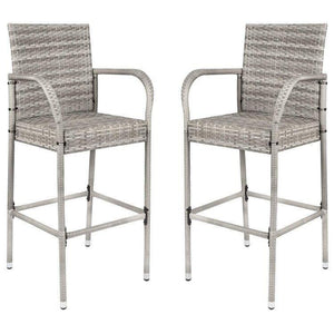 Furniwell Patio Bar Stools Wicker Barstools Indoor Outdoor Bar Stool Patio Furniture with Footrest and Armrest for Garden Pool Lawn Backyard Set of 2