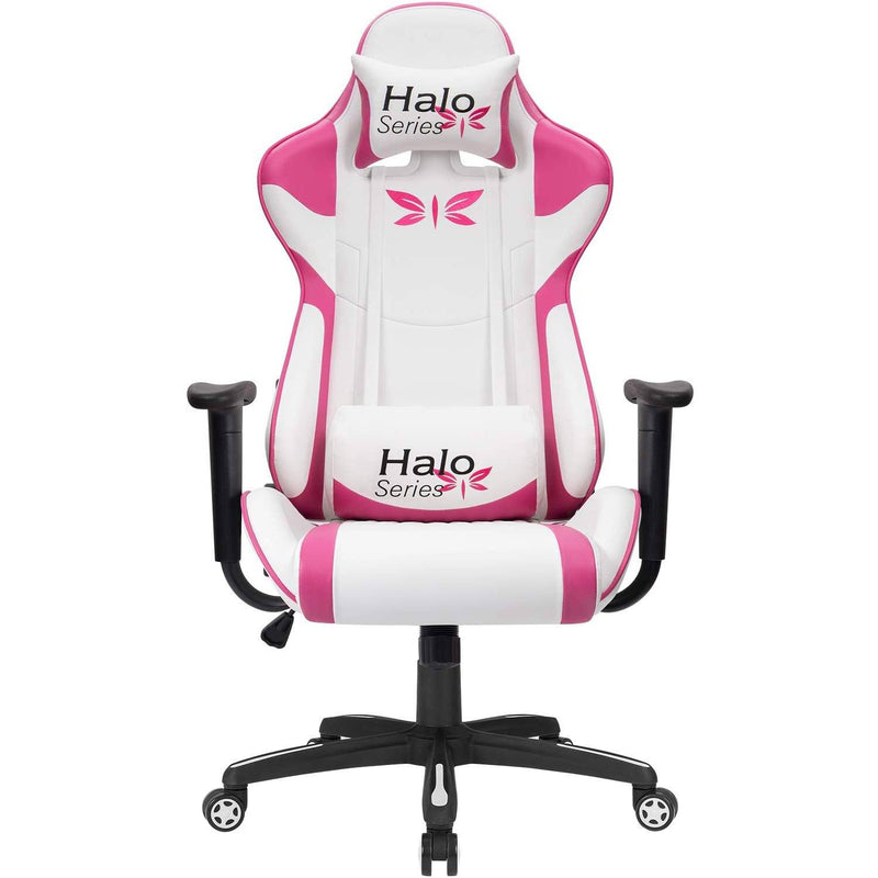 Furniwell Girl Gaming Chair Adjustable Racing Chair Halo Series Specialty Design Ergonomic Comfortable Swivel Computer Chair with Headrest and Lumbar Support, White/Pink