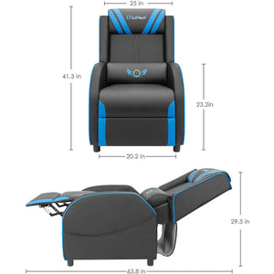 Jummico Gaming Recliner Chair PU Leather Single Recliner Sofa Adjustable Modern Living Room Recliners Home Theater Recliner Seat