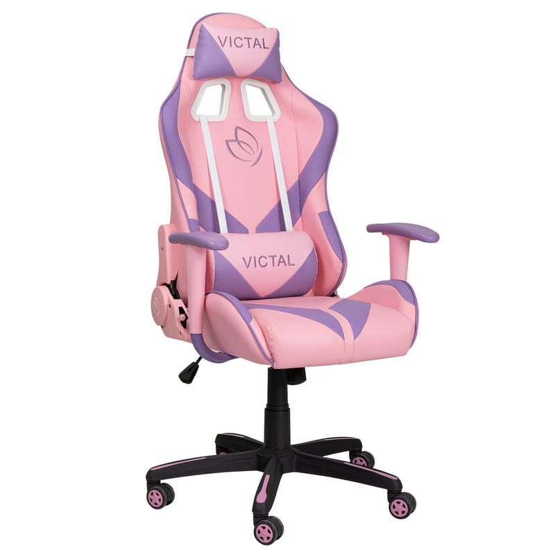 Victal Gaming Chair High Back Computer Chair Racing Office Chair PU Leather Desk Chair Executive Adjustable Swivel Task Chair with Headrest and Lumbar Support, Pink