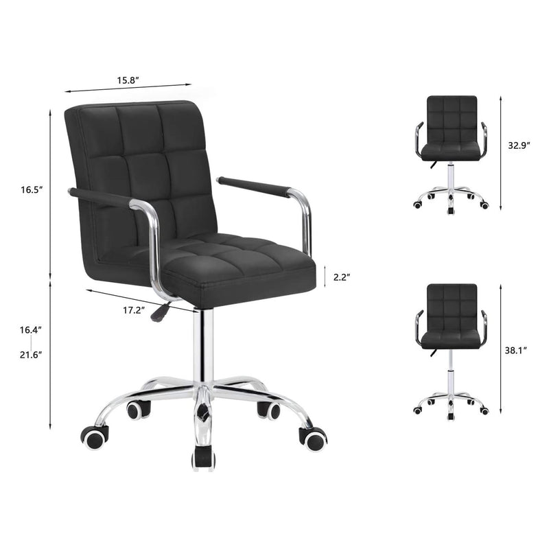 Furniwell Mid-Back Office Task Chair Ribbed PU Leather Executive Chair Modern Adjustable Home Desk Chair Retro Comfortable Work Chair 360 Degree Swivel with Arms