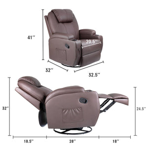 Furniwell Recliner Chair Massage Leather Living Room Chair Home Theater Seating Heated Overstuffed Single Sofa 360° Swivel and Rocking