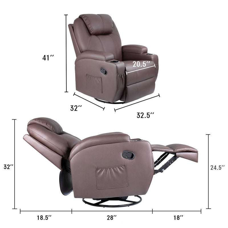 Furniwell Recliner Chair Massage Leather 360° Swivel Rocker Recliner Living Room Chair Home Theater Seating Heated Overstuffed Single Sofa Chair