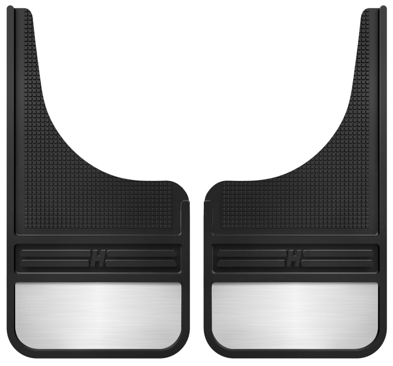 Husky Liners Universal 12in Wide Black Rubber Front Mud Flaps w/ Weight