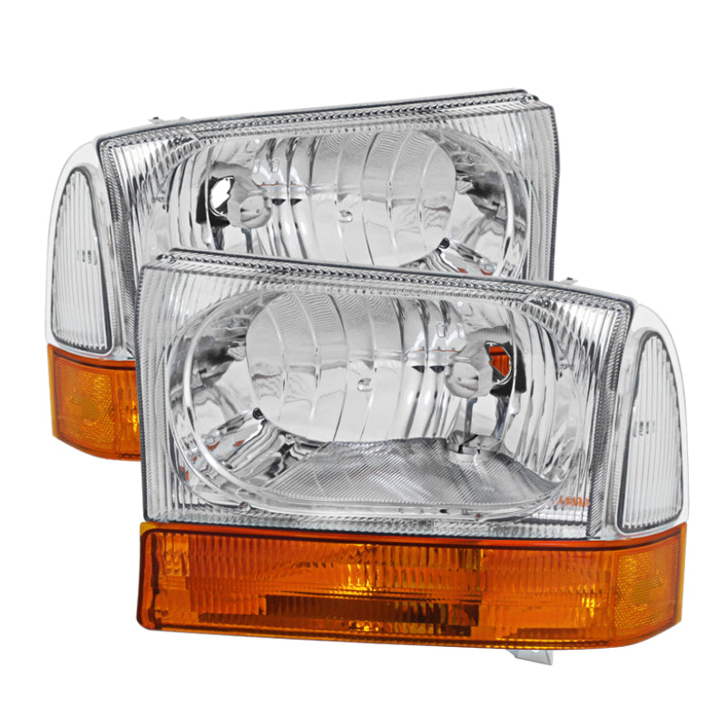 Xtune Ford F250/350/450 Superduty 99-04 Crystal Headlights Chrome HD-JH-FF25099-AMB