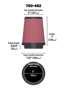 Airaid Universal Air Filter - Cone 6 x 7-1/4 x 5 x 7