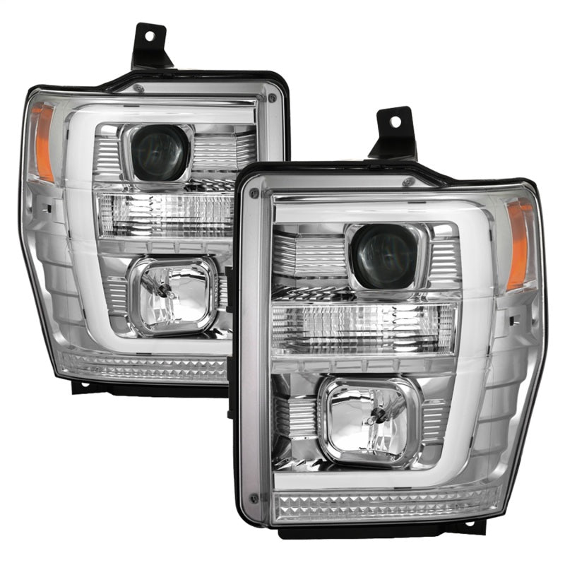 Spyder 08-10 Ford F-250 Super Duty V2 Light Bar DRL Projector Headlights - Chrm (PRO-YD-FS08V2-LB-C)