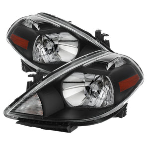 Xtune Nissan Versa 07-12 Crystal Headlights Black HD-JH-NV07-AM-BK
