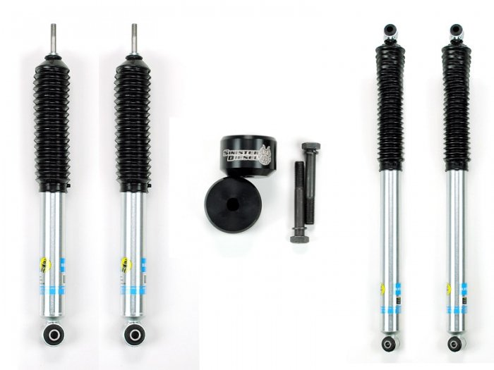 Sinister Diesel - SD-0510LVL-BLK-BIL - Sinister Diesel Leveling Kit for Ford Powerstroke 2005-2016 Black (4wd Only) w/ Bilstein 5100 Series Shocks