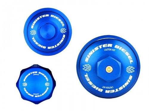 Sinister Diesel - SD-BCK-6.0 - Sinister Diesel Billet Blue Cap Kit for 2003-2007 Ford Powerstroke 6.0L