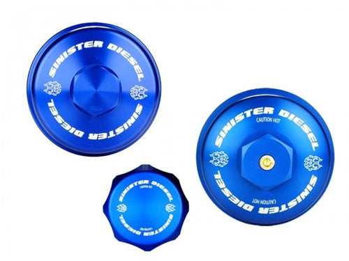 Sinister Diesel - SD-BCK-6.4 - Sinister Diesel Billet Blue Cap Kit for Ford Powerstroke 2008-2010 6.4L