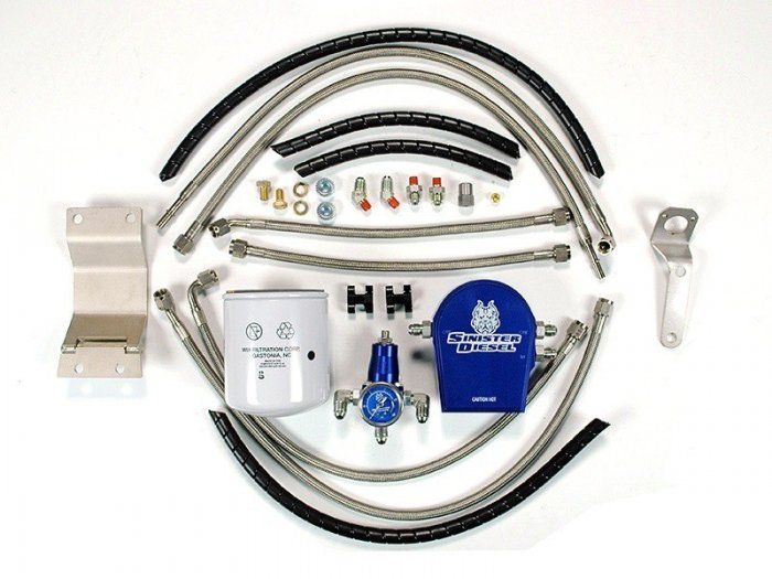 Sinister Diesel - SD-FUELREG-7.3 - Sinister Diesel Regulated Fuel Return Kit for Ford Powerstroke 7.3L w/ Integrated Fuel Filter